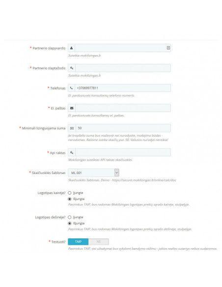 Prestashop 1.6 Mokilizingas atsiskaitymo modulis Prestashop - 5